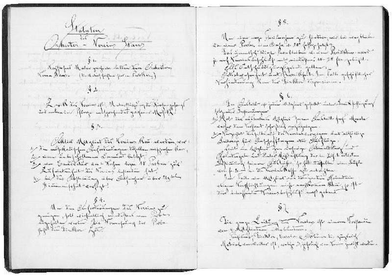 Die ersten Statuten des Orchestervereins. Handschrift des Kaufmanns Werner Z'Rotz, Vereinsaktuar von 1898 bis 1900. Ausschnitt aus dem Jahresberichtsbuch.