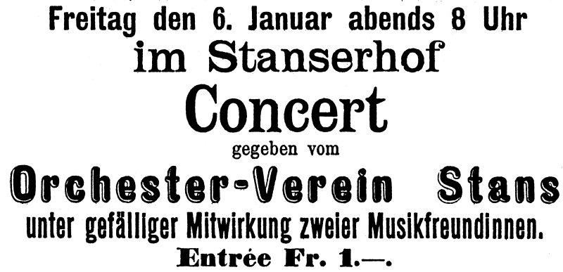 """Inserat im """"Nidwaldner Volksblatt"""" vom 31. Dezember 1898. Werbung für das erste Konzert des Orchesters."""