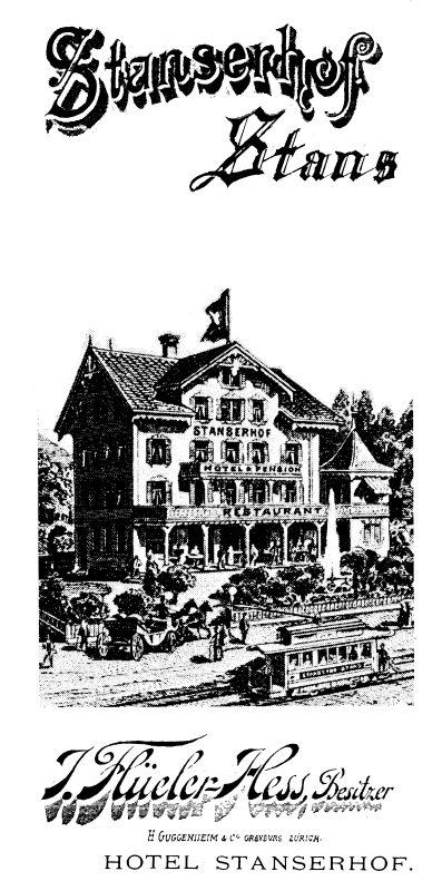 Postkarte vom Hotel Stanserhof. Hier trat der Verein erstmals in einem Konzert öffentlich auf.
