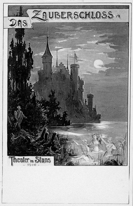 """Werbepostkarte für die Märchenoper """"Das Zauberschloss"""" von 1890."""
