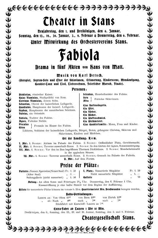 """Handzettel zu """"Fabiola""""; sie wurde während der Fasnacht 1902 im Stanser Theater gegeben und rührte alle Besucherinnen und Besucher zu Tränen."""