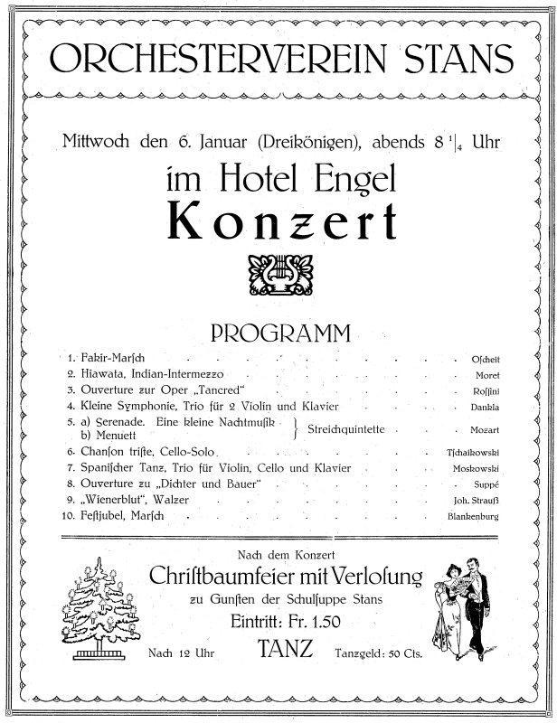 Aus dem Programm von Dreikönigen 1932. Dieses Konzert war das zweitletzte der ersten Vereinsära.