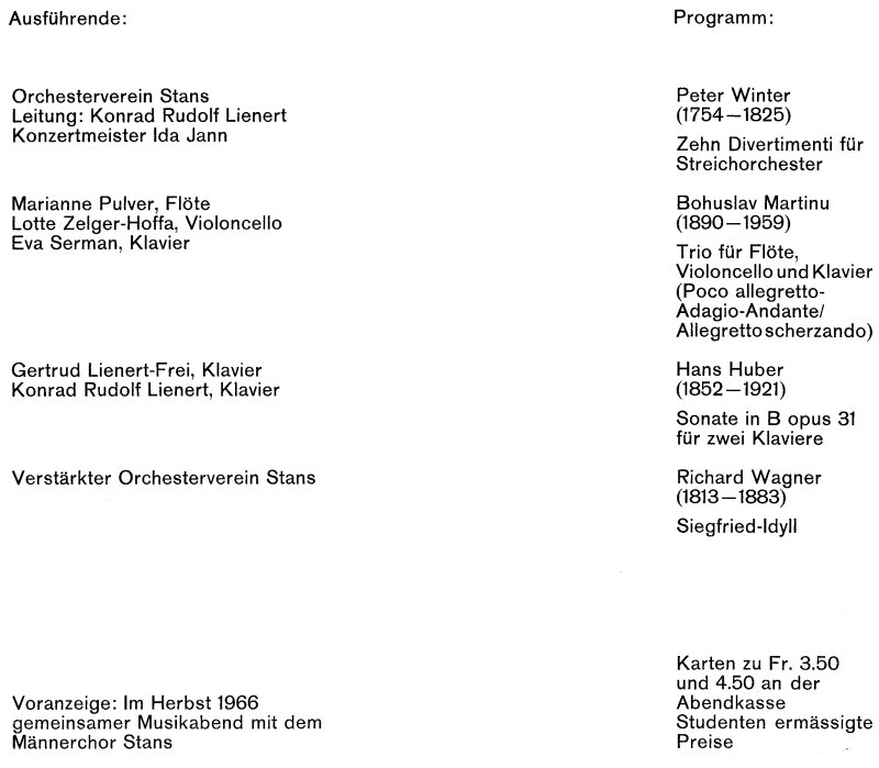 """Programm (gestaltet von Josef Bütler) zum Sommerkonzert des Jahres 1966, das die Repertoire-Ausweiteung drastisch vor Augen führt. Die Wiedergabe des """"Sigfried-Idylls"""" von Richard Wagner blieb freilich den meisten Ausführenden in unangenehmer Erinnerung."""