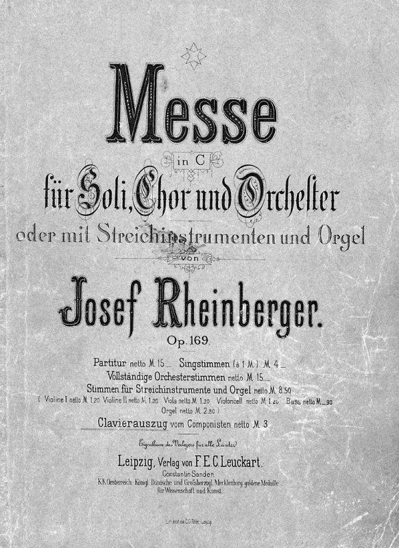 Titelblatt der Messe in C-dur von Josef Michael Rheinberger, die mit dem Gemischten Chro von Stans für Ostern 1929 erstmals eingeübt worden ist.