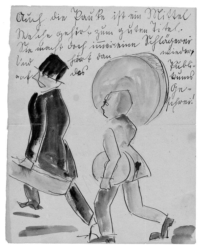 """Auf """"fröhlicher Wanderung"""". Persiflage. Aquarellierte Federzeichnung der 1920er Jahre."""