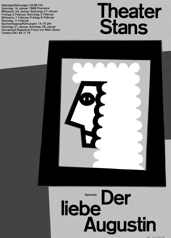 """Freches Plakat zur Operette """"Der liebe Augustin"""": dreifarbiger Linolschnitt von Josef Bütler."""